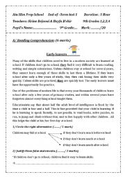 English Worksheet: 9th form: end of term test 1 (Tunisia)