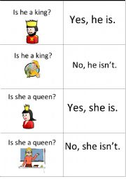 English Worksheet: Game for short answers of verb to be/2nd card
