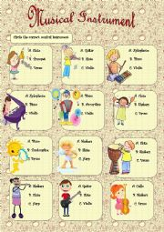 English Worksheet: Musical Instrument + Key