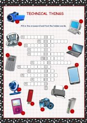 English Worksheet: Technical Things Crossword Puzzle