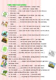 English Worksheet: 70 things to save the world (including KEY)
