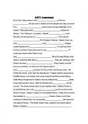 Julius Caesar Act I Cloze Story - ESL worksheet by atichy