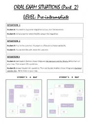 English Worksheet: ORAL EXAM SITUATIONS