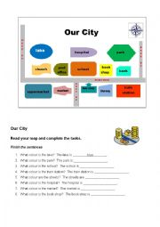 English Worksheet: Our City Map and Worksheet