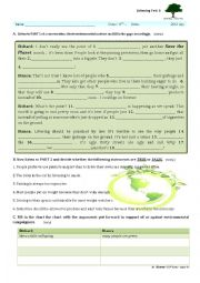 English Worksheet: environment listening test
