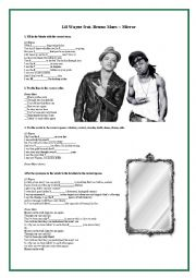 English Worksheet: Mirror by Lil Wayne and Bruno Mars