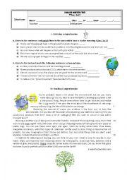 English Worksheet: Test 9th form - Environment / Volunteering