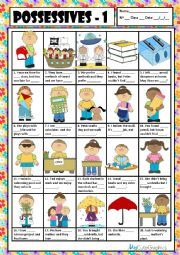 English Worksheet: POSSESSIVE ADJECTIVES & PRONOUNS 1 + KEY