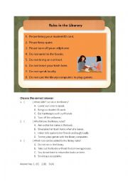 English Worksheet: Rules in the library (reading)