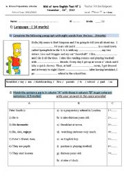 English Worksheet: 7th form mid of term test 1