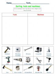 English Worksheet: Sorting tools and machines