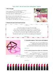 English Worksheet: Taylor Swift - We�re never ever ever ever getting back together