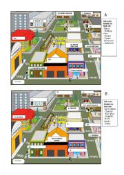 English Worksheet: giving direction and places in town