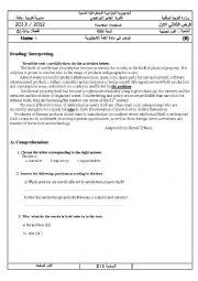 English Worksheet: FIRST TERM TEST TERMINALCLASSES