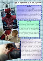 English Worksheet: The Amazing Spiderman - reading comprehension
