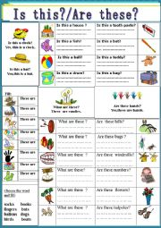 English Worksheet: Demonstratives:  These are / Are these?