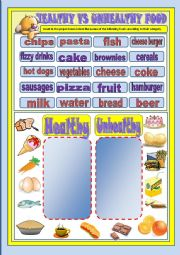 English Worksheet: Food - healthy and unhealthy