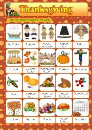 English Worksheet: Thanksgiving Vocabulary