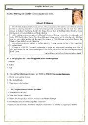 English Worksheet: Test (10th grade � vocational courses) Nicole Kidman