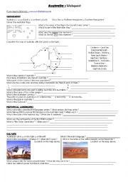 English Worksheet: Autralia webequest
