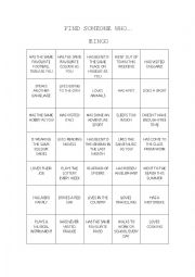 English Worksheet: ICEBREAKER BINGO