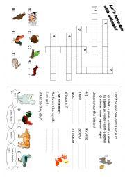 English Worksheet: Animals: games