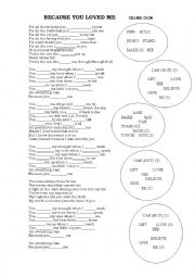 English Worksheet: SONG: BECAUSE YOU LOVED ME