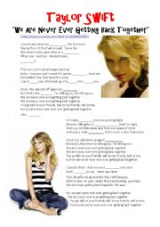 English Worksheet: Taylor Swift - We are never ever getting back together