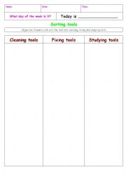 English Worksheet: Sorting tools ( fixing, cleaning, studying tools)