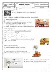English Worksheet: lesson : Are We All Intelligent ? 1st Form
