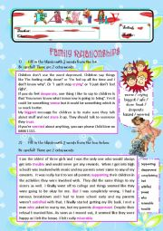 English Worksheet: All About Family! Exercises on Family Relationships / Pocket Money / Household Chores (4 PAGES)
