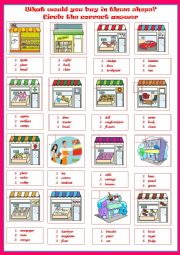 English Worksheet: SHOPS - multi-choice