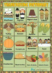 English Worksheet: THANKSGIVING - PICTIONARY