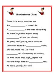 English Worksheet: A grammar chant