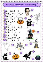 English Worksheet: Halloween vocabulary vowels writing