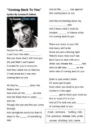 Listening Activity - Coming Back to You - Song by Leonard Cohen