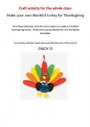 English Worksheet: Thanksgiving turkey - craft activity