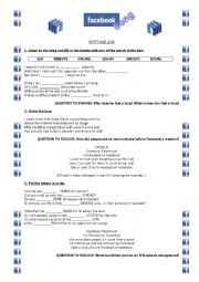 English Worksheet: The Facebook Song