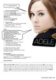 English Worksheet: SOMEONE LIKE YOU - ADELE