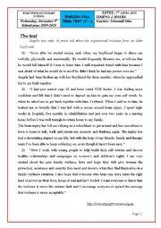 English Worksheet: full term test 1- level: 2nd year