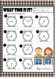 English Worksheet: WHAT TIME IS IT? + KEY