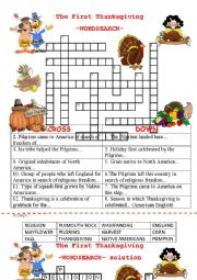 English Worksheet: The First Thanksgiving -wordsearch