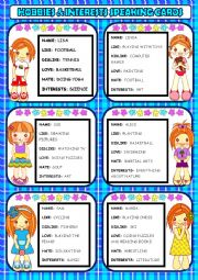 English Worksheet: Hobbies & Interests Speaking Cards