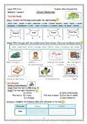 School Memories Worksheet