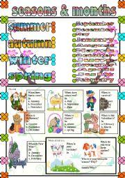 English Worksheet: seasons & months