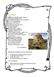English Worksheet: Poem by Carl Sandburg�s and Tower Babel
