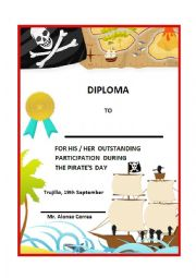 English Worksheet: Pirate Pirates day diploma