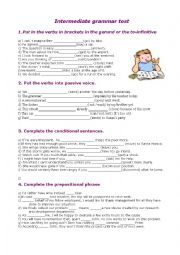 English Worksheet: Intermediate grammar test - review