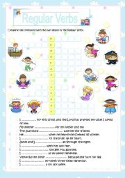 English Worksheet: Regular Verbs - Crossword Puzzle