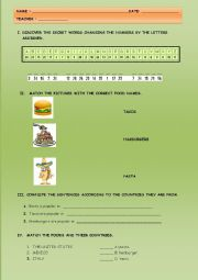 English Worksheet: POPULAR FOOD AROUND THE WORLD